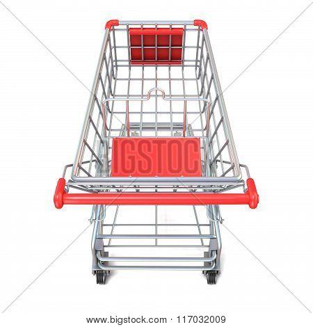 Shopping cart top view. 3D