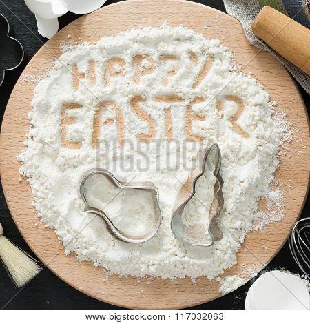 Easter baking concept - kitchen utencils