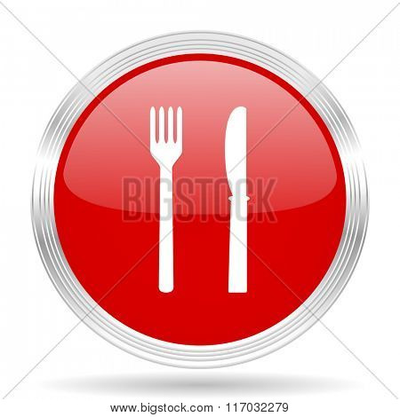 eat red glossy circle modern web icon on white background
