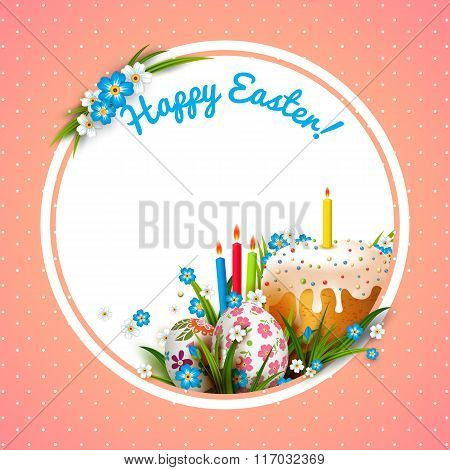 Template with Easter eggs, flowers and cake