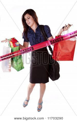 Woman Shopping Danger Sign
