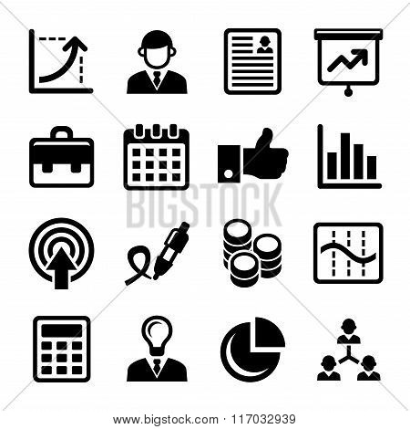Business, Management and Human Resources Icons Set. Vector
