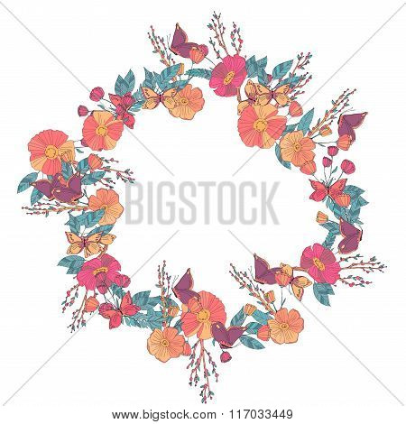 Floral wreath made of wildflowers