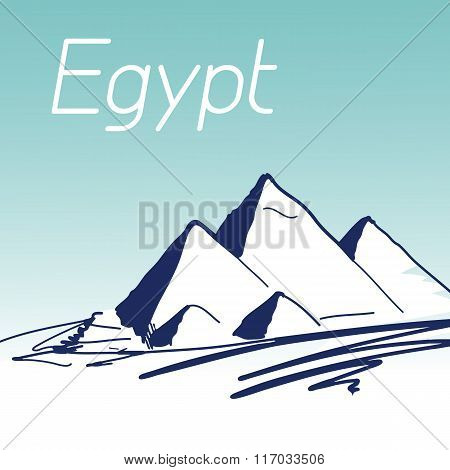 Hand Drawn Vector Illustration. World Famous Landmark Series: Eg