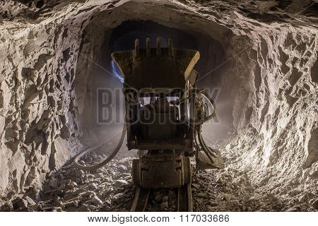 Underground gold mine tunnel passage