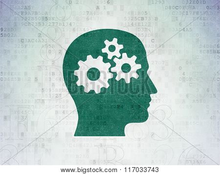 Information concept: Head With Gears on Digital Paper background