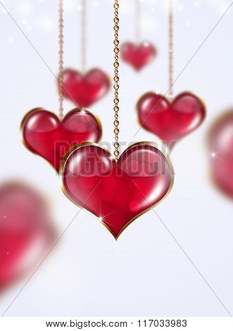 Golden Red Hearts On Bright Background
