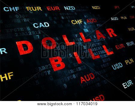 Banking concept: Dollar Bill on Digital background