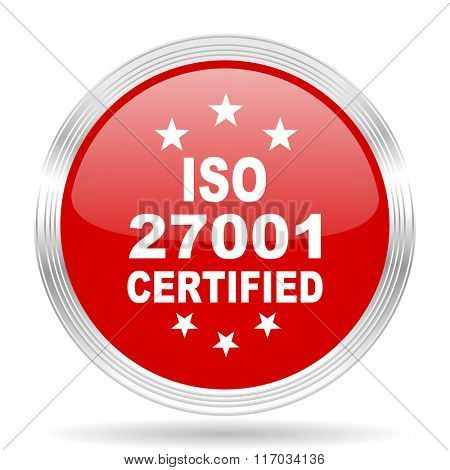 iso 27001 red glossy circle modern web icon on white background