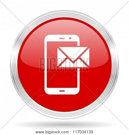 mail red glossy circle modern web icon on white background
