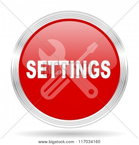 settings red glossy circle modern web icon on white background