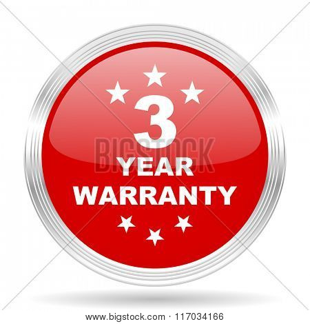 warranty guarantee 3 year red glossy circle modern web icon on white background