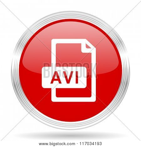 avi file red glossy circle modern web icon on white background