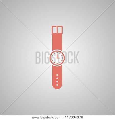 Wristwatch Icon. Flat