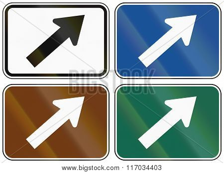 Collection Of Lane Direction Signs Of The United States Mutcd