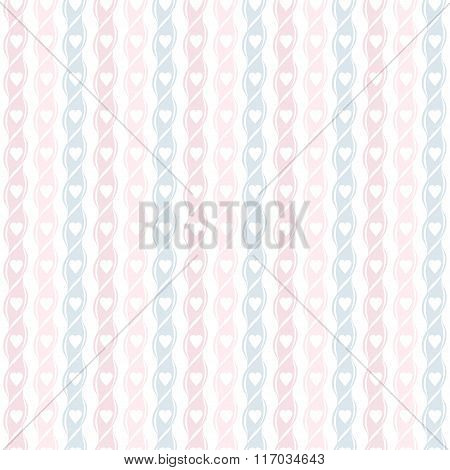 Seamless Geometric Pattern With Hearts. Vertical Stripes Of Hearts. Stylish Valentines Background.
