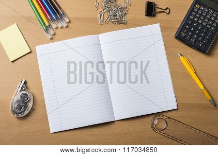 Empty Note Pad On Wooden Table