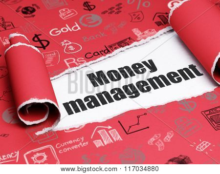 Currency concept: black text Money Management under the piece of  torn paper