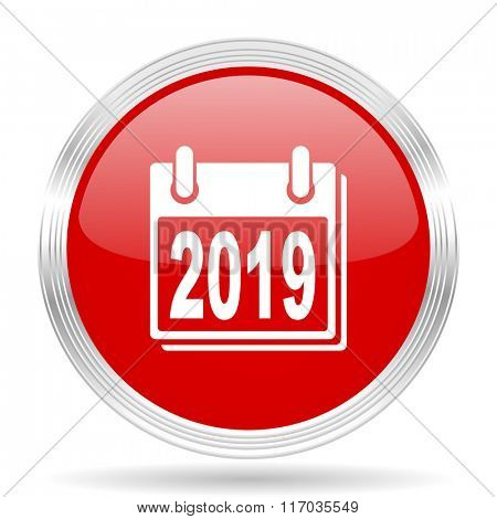 new year 2019 red glossy circle modern web icon on white background