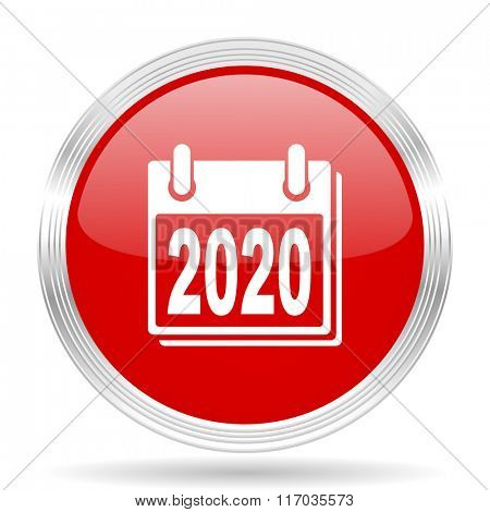 new year 2020 red glossy circle modern web icon on white background