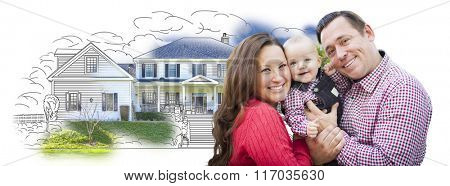 Happy Young Family With Baby Over House Drawing Isolated on a White Background.