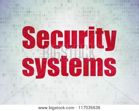 Protection concept: Security Systems on Digital Paper background