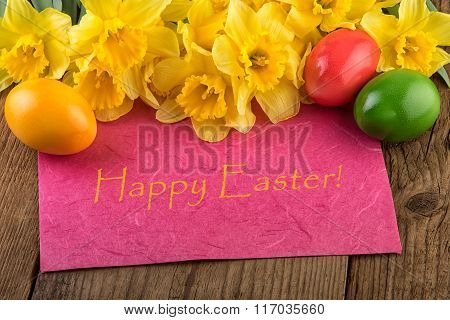 Easter yellow daffodil flowers card Happy Easter