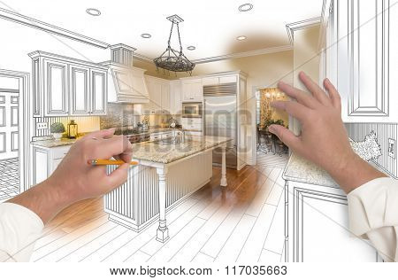 Male Hands Sketching with Pencil A Custom Kitchen with Photo Showing Through.