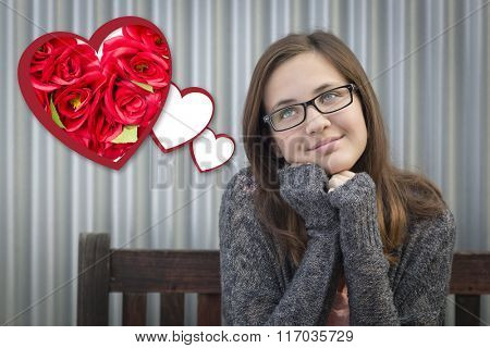 Cute Daydreaming Girl Next To Floating Hearts with Red Roses.