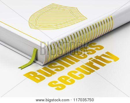 Safety concept: book Shield, Business Security on white background