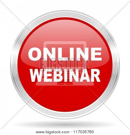 online modern webinar red glossy circle modern web icon on white background