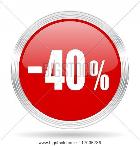 40 percent sale retail red glossy circle modern web icon on white background