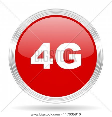4g red glossy circle modern web icon on white background