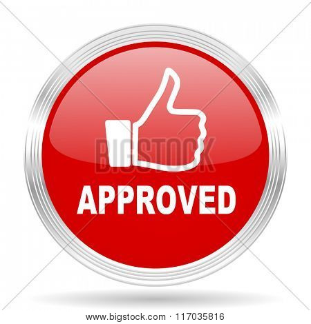 approved red glossy circle modern web icon on white background