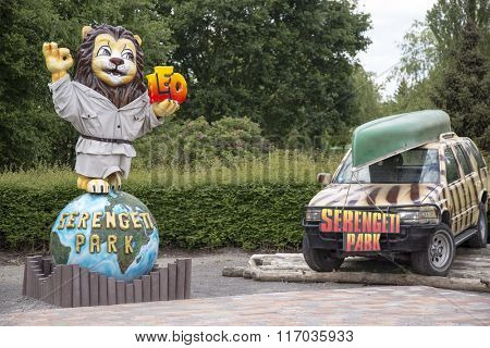 Serengeti Park in Hodenhagen, North German - June 10. Holiday in one of the biggest   safari park in Europe on June 10, 2015, Hodenhagen, Lower Saxony, Germany