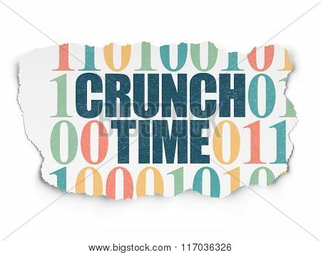 Business concept: Crunch Time on Torn Paper background