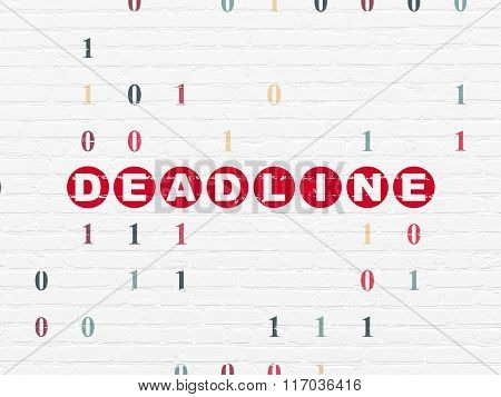 Finance concept: Deadline on wall background