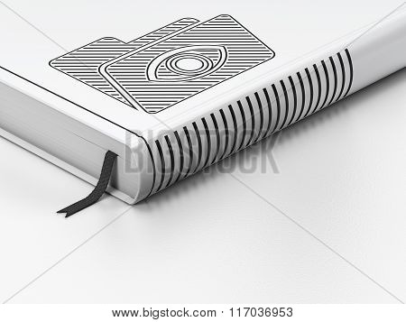 Business concept: closed book, Folder With Eye on white background