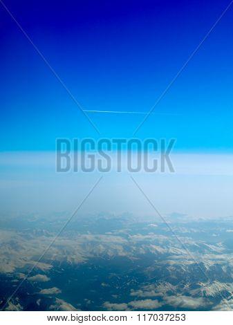 Plane Flying Over Alps