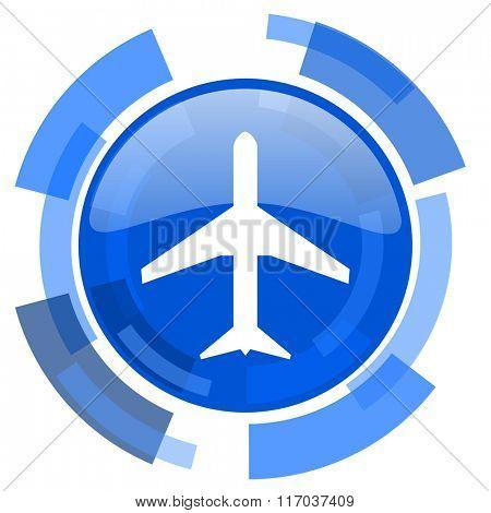 plane blue glossy circle modern web icon