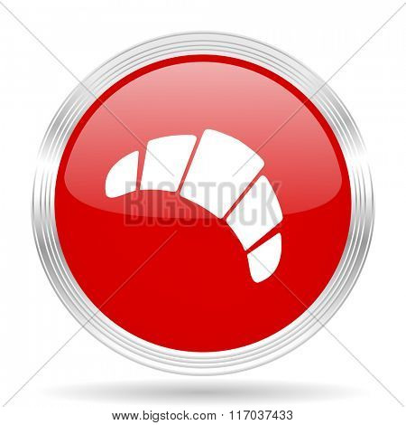 croissant red glossy circle modern web icon on white background