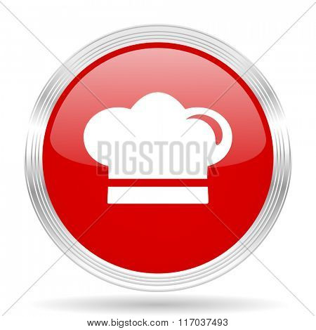 cook red glossy circle modern web icon on white background