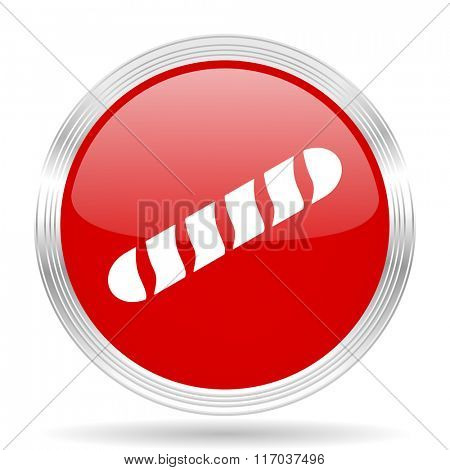 baguette red glossy circle modern web icon on white background