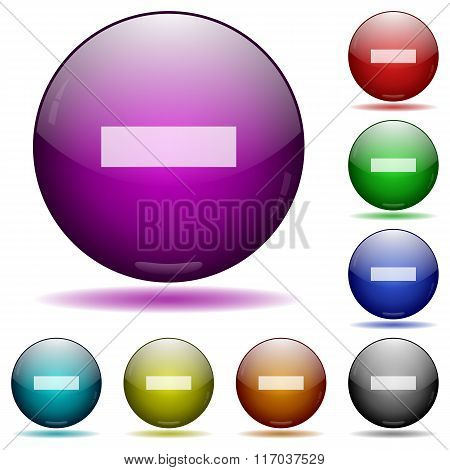 Minus Sign Glass Sphere Buttons