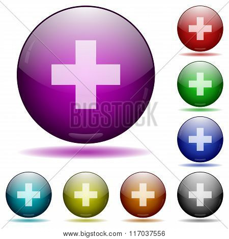 Plus Sign Glass Sphere Buttons