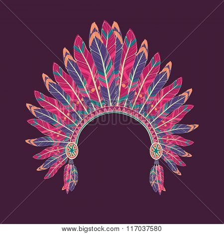 Vector Colorful Illustration Of Native American Indian Chief Headdress With Feathers