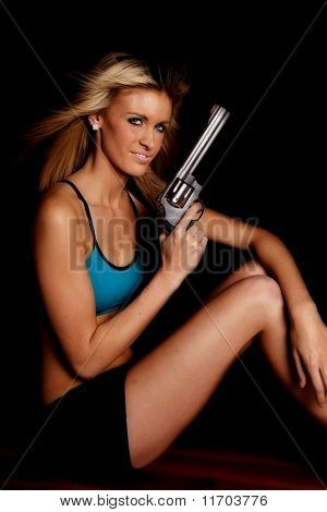 Woman Blue Halter Gun Black Smile
