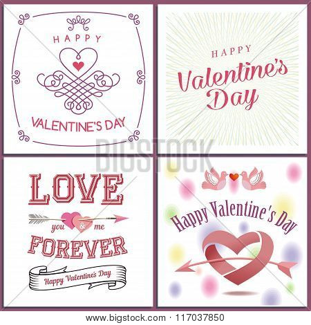 Happy Valentine`s Day Set - Emblems And Cards. Valentine Concept. Valentine's Day Invitation Design.