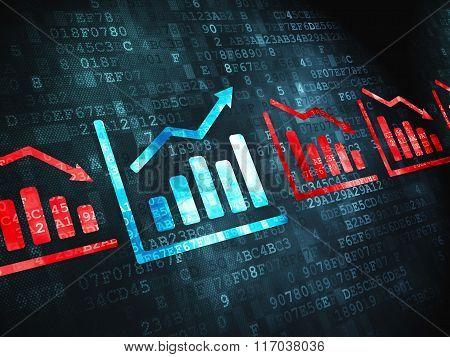 Finance concept: Graph on digital background