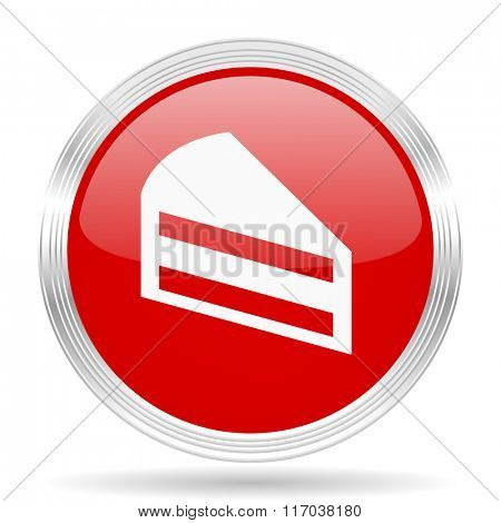 cake red glossy circle modern web icon on white background